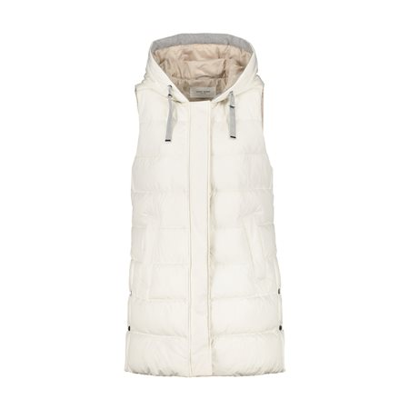 Gerry Weber Longline Gilet With Hood Cream  - Click to view a larger image