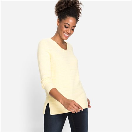 Olsen V-Neck Sweater Knit Structure Lemon  - Click to view a larger image