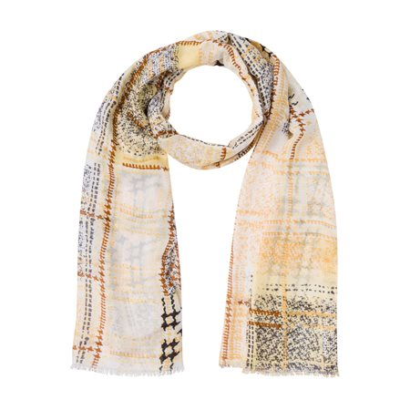 Olsen Fashion Scarf With A Geometric Print Lemon  - Click to view a larger image