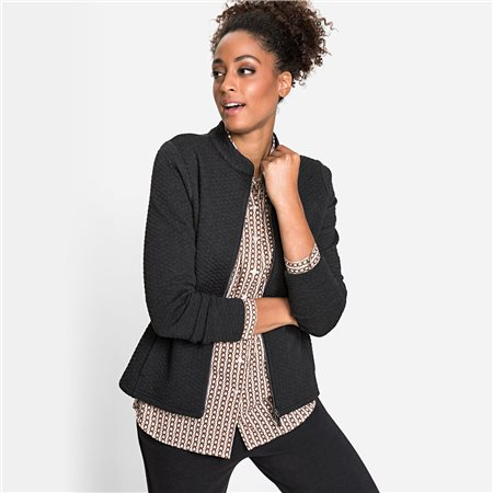 Olsen Sweat Jacket With Stand-Up Collar And Two-Way Zip Black  - Click to view a larger image