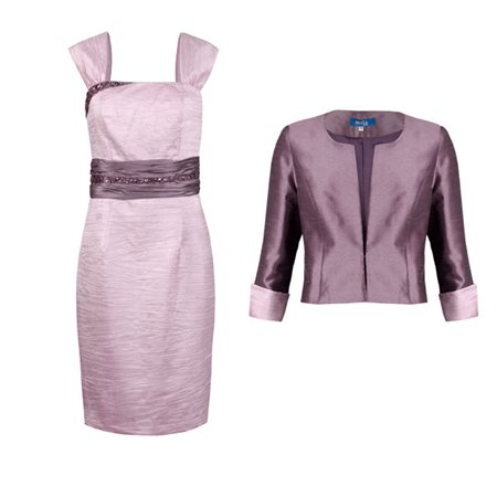 Zeila Pink Beaded Dress And Mauve Bolero  - Click to view a larger image