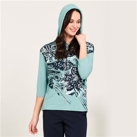 Lebek Flower Print Hoodie Teal  - Click to view a larger image