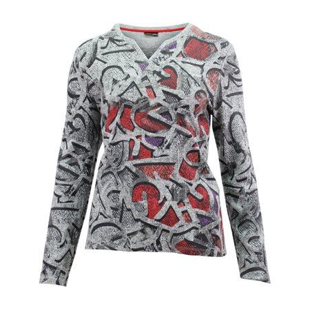 Lebek Fine Knit Grafitti Top Grey  - Click to view a larger image