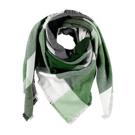 Gerry Weber Checkered Scarf Green  - Click to view a larger image
