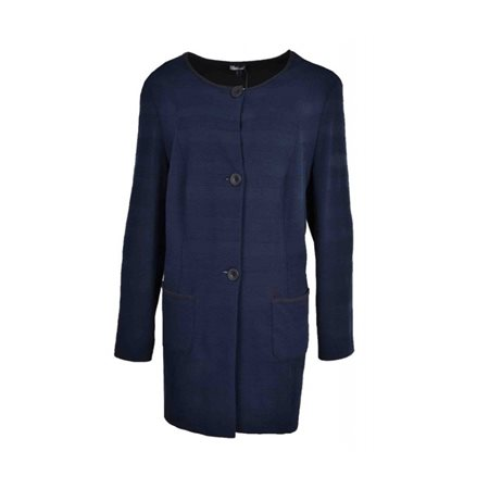 Lebek Longline Knitted Blazer Navy  - Click to view a larger image
