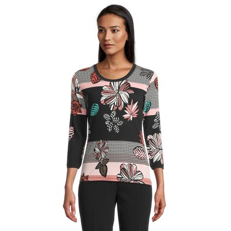Betty Barclay Floral And Stripe Print Top Pink 1