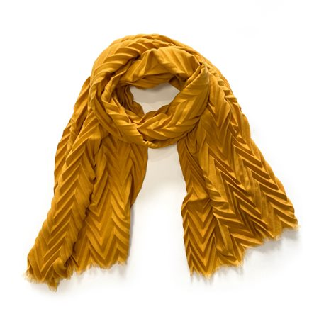 Taifun Chevron Scarf Mustard  - Click to view a larger image