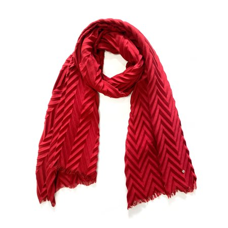 Taifun Chevron Scarf Red  - Click to view a larger image