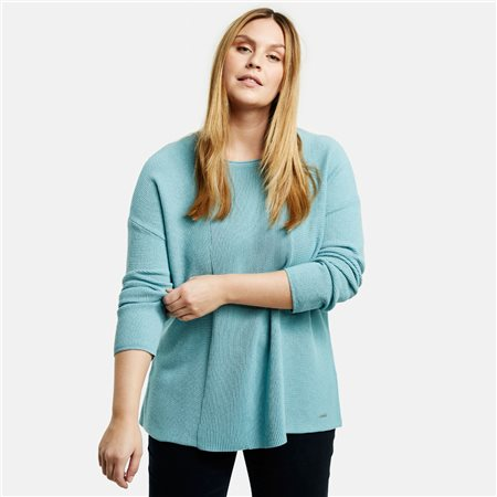 Samoon Ribbed Jumper Aqua  - Click to view a larger image