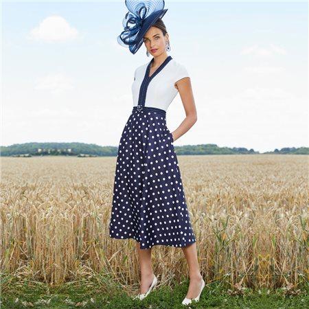 Ronald Joyce 991757 Dress With Spot Skirt Navy  - Click to view a larger image