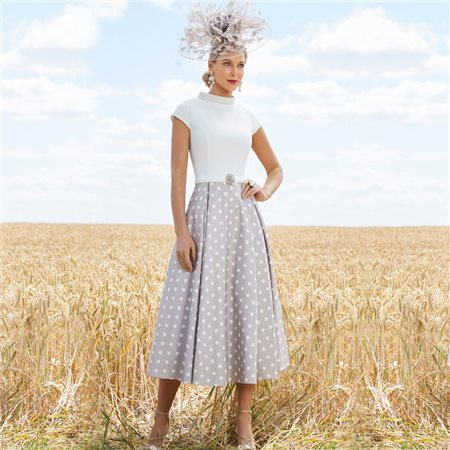 Ronald Joyce 991749 Dress With Spot Skirt Taupe  - Click to view a larger image