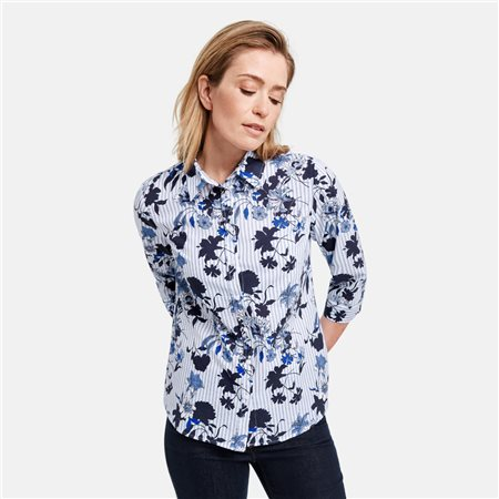 Gerry Weber Floral Print Shirt Blue  - Click to view a larger image