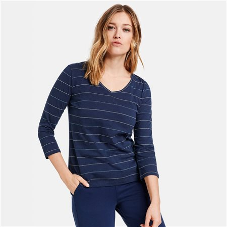Gerry Weber V Neck Top With Stripes Navy  - Click to view a larger image