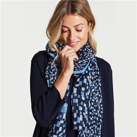 Gerry Weber Scarf With Square Print Blue  - Click to view a larger image