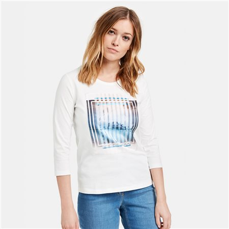 Gerry Weber Top With Front Motif Print Off White  - Click to view a larger image
