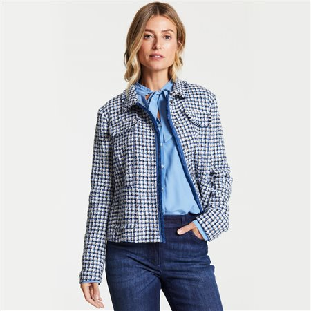 Gerry Weber Check Jacket With Frill Collar Blue  - Click to view a larger image