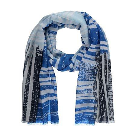 Gerry Weber Mixed Stripe Scarf Blue  - Click to view a larger image