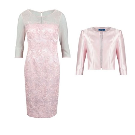 Zeila Light Pink Lace Dress And Bolero  - Click to view a larger image