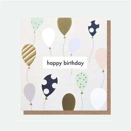 Caroline Gardner Happy Birthday Balloons Foil Card White  - Click to view a larger image