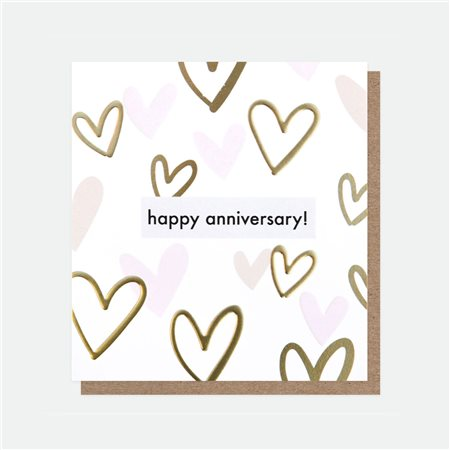 Caroline Gardner Happy Anniversary Foil Card White  - Click to view a larger image