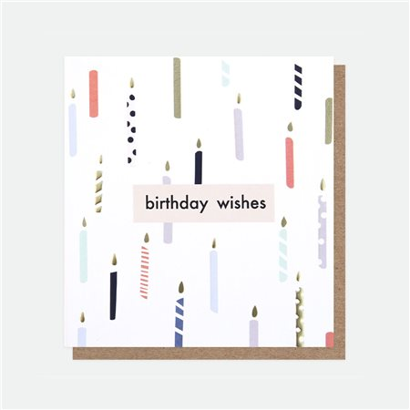 Caroline Gardner Birthday Wishes Foil Card White  - Click to view a larger image