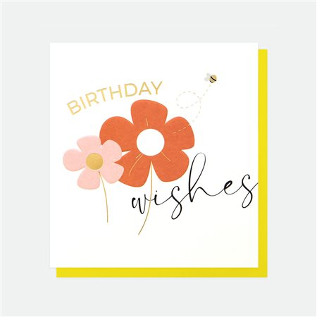 Caroline Gardner Birthday Wishes Flowers Card White  - Click to view a larger image