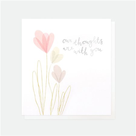Caroline Gardner Our Thoughts Are With You Sympathy Card White  - Click to view a larger image