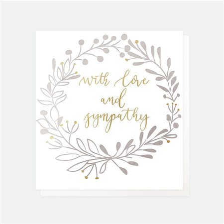 Caroline Gardner With Love And Sympathy Card White  - Click to view a larger image
