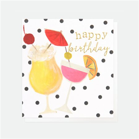 Caroline Gardner Happy Birthday Cocktails Card White  - Click to view a larger image