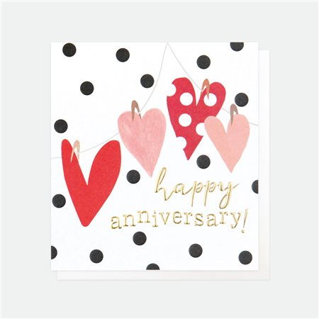 Caroline Gardner Happy Anniversary Hearts Card White  - Click to view a larger image