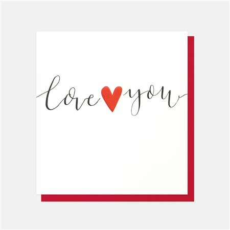 Caroline Gardner Love You Heart Card White  - Click to view a larger image