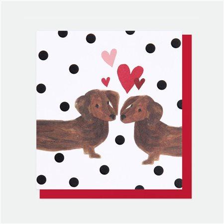 Caroline Gardner Sausage Dog Love Card White  - Click to view a larger image