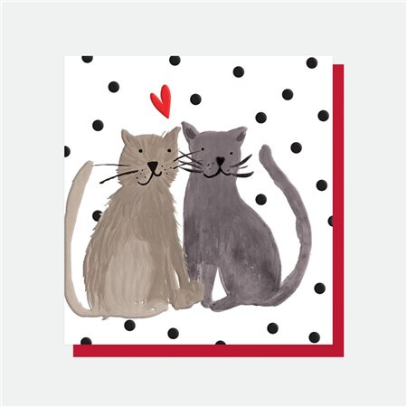 Caroline Gardner Cat's Heart Card White  - Click to view a larger image