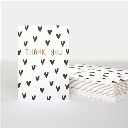 Caroline Gardner Thank You Scattered Hearts Card Pack White  - Click to view a larger image
