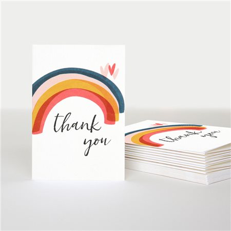 Caroline Gardner Thank You Rainbow Card Pack White  - Click to view a larger image