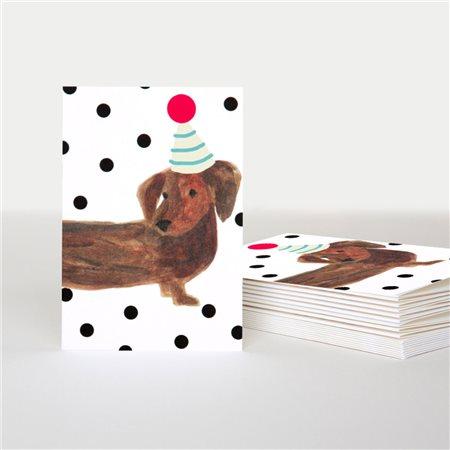 Caroline Gardner Sausage Dog Card Pack White  - Click to view a larger image