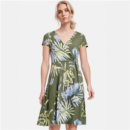 Taifun Florwer Print Jersey Dress Green  - Click to view a larger image