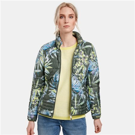 Taifun Flower Print Quilted Coat Green  - Click to view a larger image