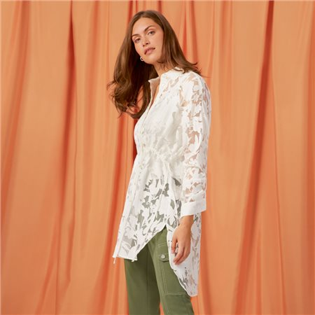 Taifun Long Blouse With A Transparent Floral Design Off White  - Click to view a larger image