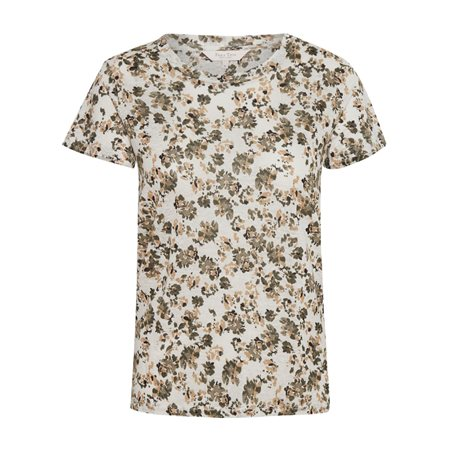 Part Two Kassima Floral Print Linen Top Khaki  - Click to view a larger image
