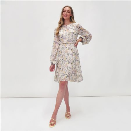 Fee G Flower Print Dress Cream  - Click to view a larger image