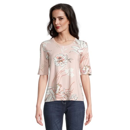 Betty Barclay Floral Print Top With Shimmer Neckline Pink  - Click to view a larger image