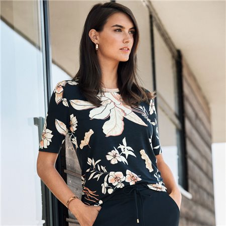 Betty Barclay Floral Print Top With Shimmer Neckline Navy  - Click to view a larger image