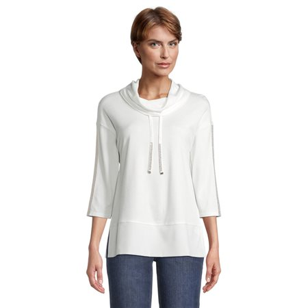 Betty Barclay Cowl Neck Jumper With Tie Detail Off White  - Click to view a larger image