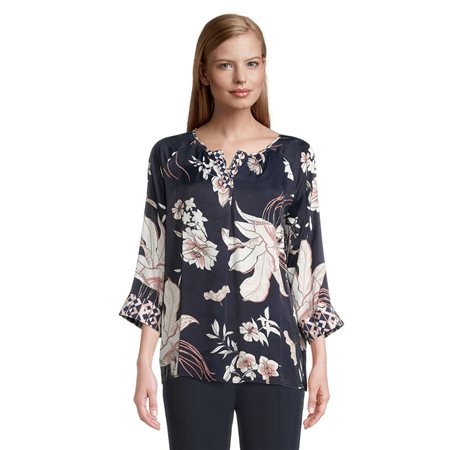 Betty Barclay Floral Print Blouse Navy  - Click to view a larger image