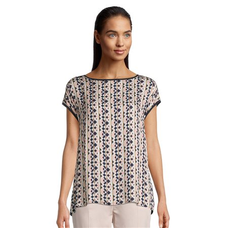 Betty Barclay Top With Geometric Front Print Navy  - Click to view a larger image
