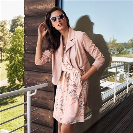 Betty Barclay Suede Look Zip Jacket Pink  - Click to view a larger image