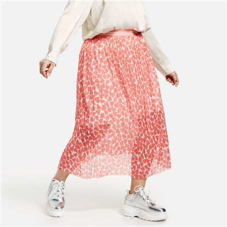 Samoon Heart Print Midi Skirt Coral  - Click to view a larger image