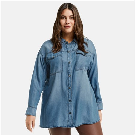 Samoon Denim Blouse Blue  - Click to view a larger image