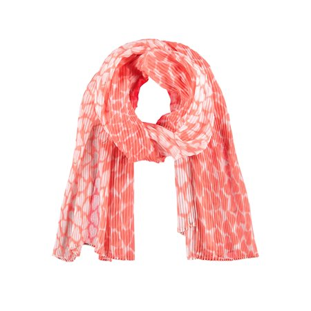 Samoon Heart Print Scarf Coral  - Click to view a larger image